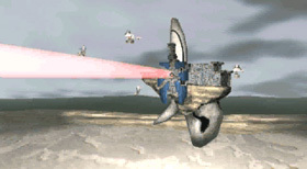 The Grig Orig opens fire with its beam laser.