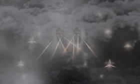 The Imperial army descends through the clouds.