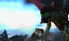 The dragonmares are blown out of the sky by the dragon of destruction.