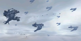 The Imperial fleet fills the sky.
