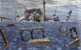 The building architecture in the original Panzer Dragoon (artwork).