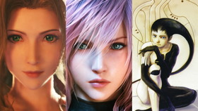Characters voiced by Maaya Sakamoto. From left to right, Aerith from Final Fantasy VII, Lightning from Final Fantasy XIII series and Azel from Panzer Dragoon Saga.