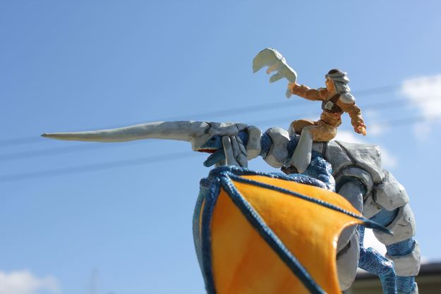 Blue Dragon and Rider Sculpture (3 of 7)