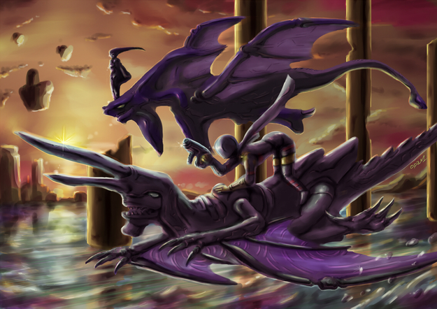 Orta and Azel Riding Dragons