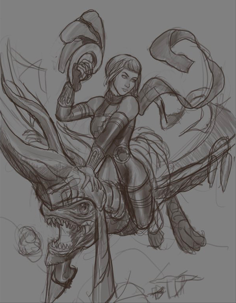 Orta and Her Dragon Sketch