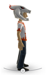 Xbox Live Avatar - White Reaver Helmet and T-Shirt Right Side View